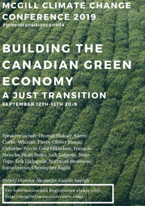 Building the Canadian Green Economy. A Just Transition @ Ballroom, McGill Faculty Club