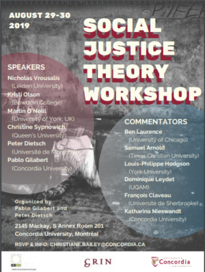 Social Justice Theory Workshop @ Room 201, S Annex, Sir George Williams Campus, Concordia University, Philosophy Department